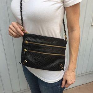 Elliot Lucca black  leather cross shoulder bag